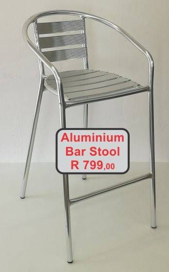 Aluminium bar stool with footrest and armrests