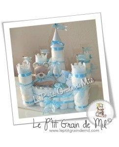 Château de couches ❤ Castle diaper cake ❤ Le P'tit Grain de Mil