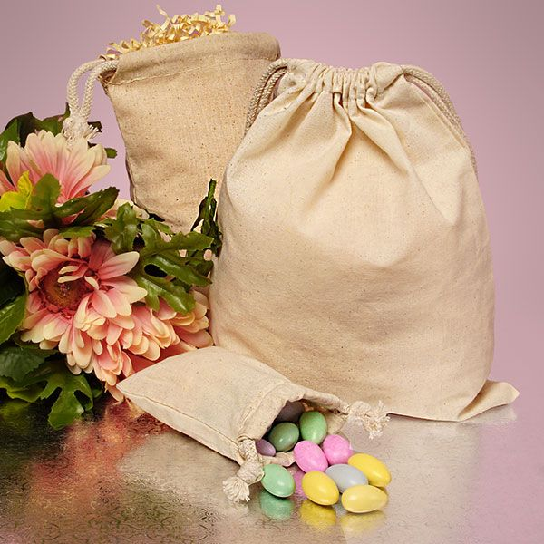 Plain Cotton Muslin Pouch (to hold coffee beans, candies, or dried flowers - as wedding favors)