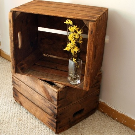 Best 25 crate end tables ideas on pinterest crate side for Wooden crate end table