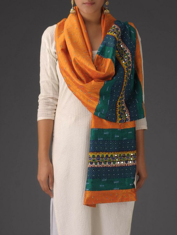 Buy Orange-Green Silk Hand Embroidered Stole Online at Jaypore.com