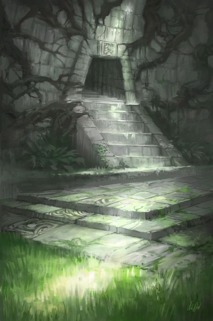 Jungle Temple by Nele-Diel cave stairs dungeon entrance ...