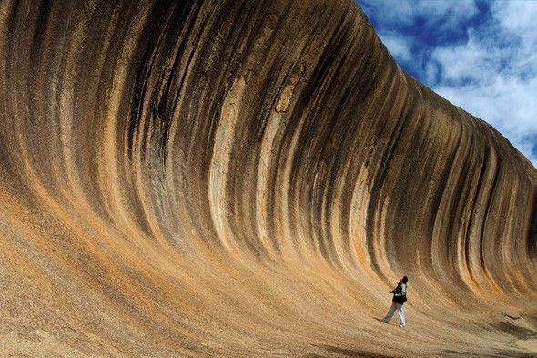 This incredible rock formation is the result of hundreds of millions of years of erosion: the stripes are caused by leaking minerals in the rock. Want to go there? Simple! You just need to drive four hours east from Perth...