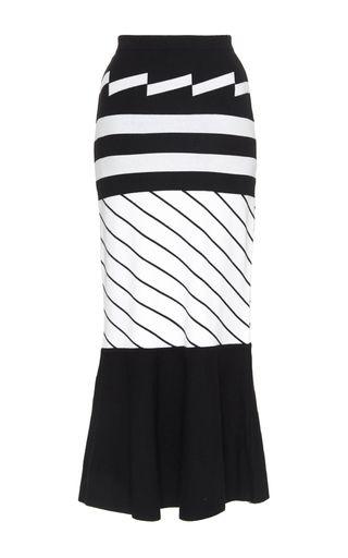 Black And White Mixed Stripe Trumpet Skirt by PREEN BY THORNTON BREGAZZI Now Available on Moda Operandi