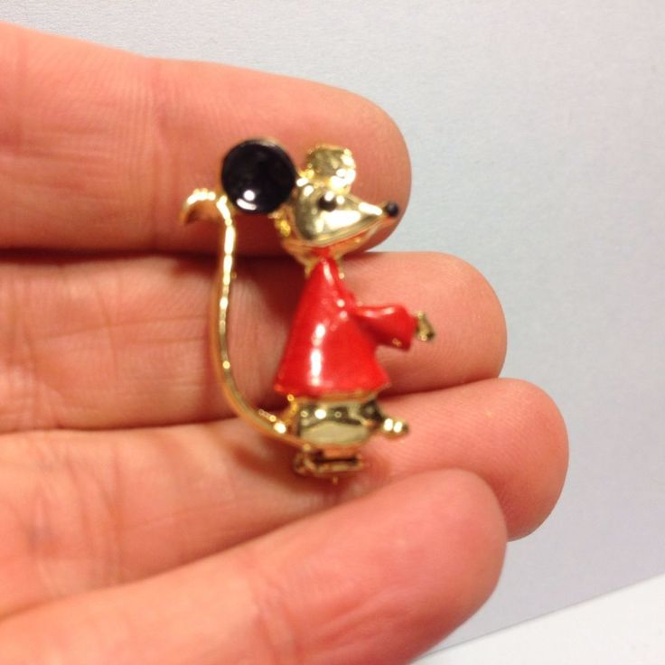 Vintage MOUSE in RED SHIRT BROOCH Pin Enamel Gold Tone ...