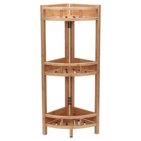 household essentials 3tier corner shelf unit light brown target