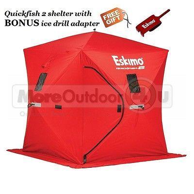 69151 Eskimo QuickFish 2 Ice Shelter Shanty 2 Man BONUS BUY ANCHOR ADAPTER
