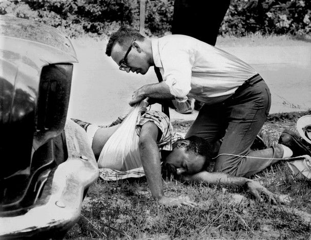 MISSISSIPPI 1966  |  June 5, 1966, equipped with a sun helmet, walking stick, and Bible, James Meredith, began a 220-mile March Against Fear from Memphis, TN, to Jackson, Miss., to encourage African Americans in Miss. to register to vote and prove an African American man could walk free in the South. On the second day of the March outside Hernando, Miss. he was shot, but completed the march after recoveri from his wounds. 4,000 Black Mississippians registered to Vote as a result.