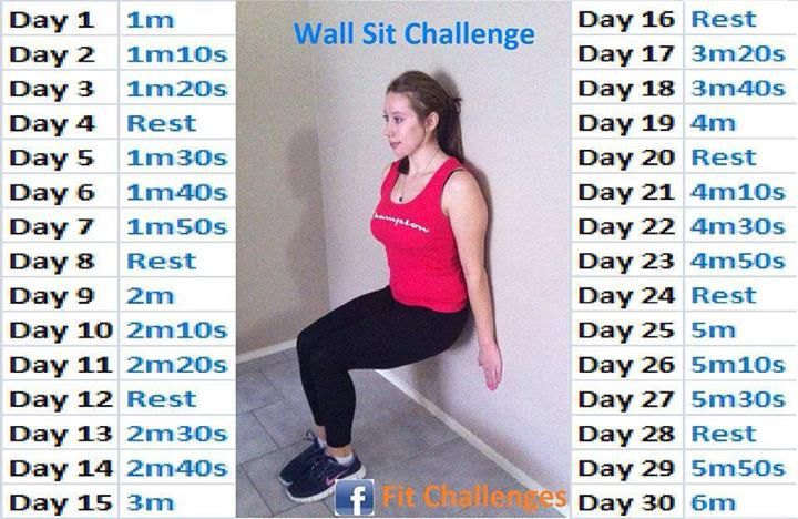 30 day challenge wall sits. My FREE 30 Day Challenge group starts soon, send me a friend request on FB (Andrea Cordova Huffmon) if you would like to join!