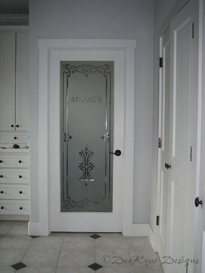 Etched Glass Interior Doors | wine cellar door shaded carved surface etched bathroom shower door