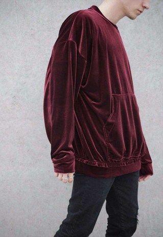 Raw Edge Velvet 80's Sweater Oversized Fit Dropped Should