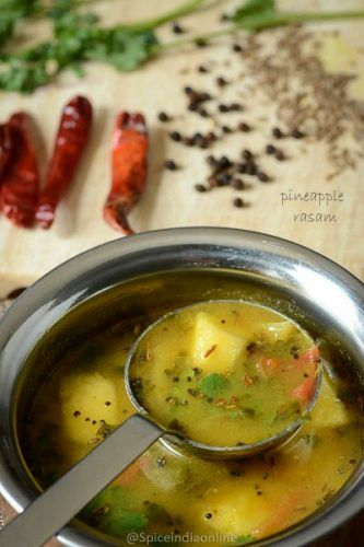 Pineapple Rasam is more like a upgraded :-P version of rasam served during special occasions or festive time. The highlight of this rasam is its flavored with fresh sweet pineapple paired ...