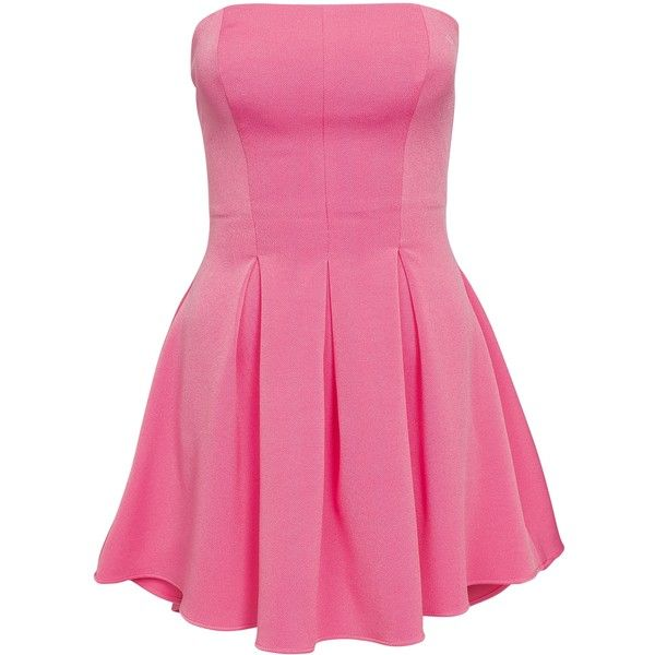 Nly One Bandeau Pleats Dress featuring polyvore, fashion, clothing, dresses, light pink, party dresses, womens-fashion, pink pleated dress, pleated dress, pleated cocktail dress, light pink cocktail dress and tall dresses