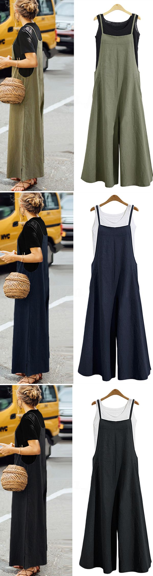 $ 26.99 USD Damen Lässige Pure Color Lose Tank Jumpsuit