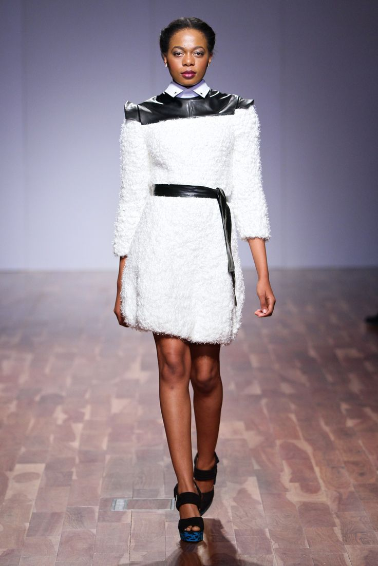 Through time and space Collection 2013 leather and wool dress
