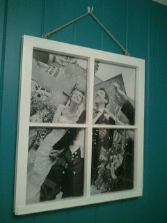 Window picture frame - excited to do this with our wedding photos and the three windows we saved when replacing all windows