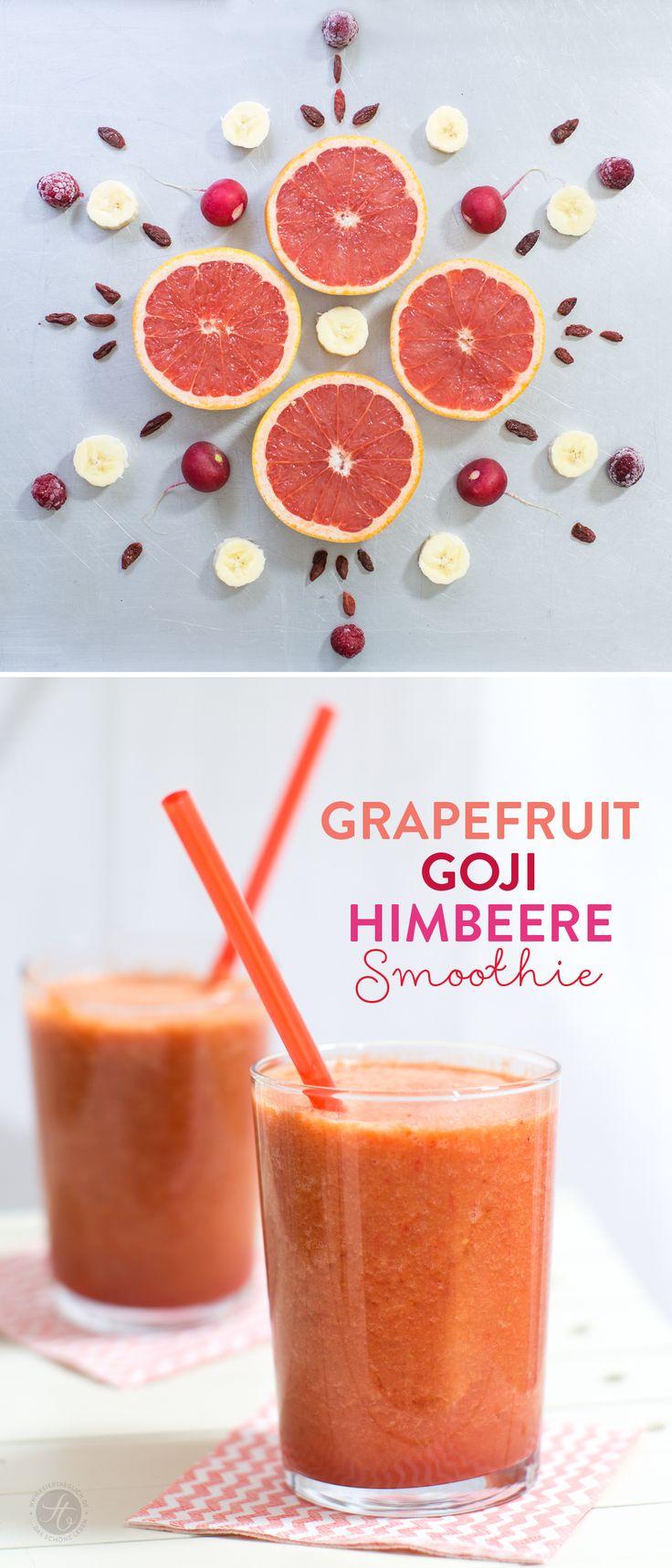 Grapefruit-Goji-Himbeere Smoothie – Lieblingsfarbe zum Trinken, #SmoothieMontag auf feiertäglich.de