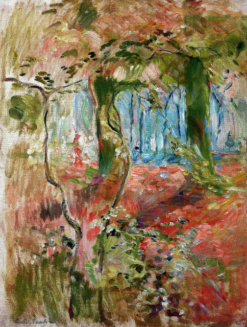 Berthe Morisot - Undergrowth in the Fall 1894 (Musee Marmottan Monet - Paris France) at Museo Thyssen-Bornemisza Madrid Spain (pour moi le tronc d' arbre central à une forme de corps féminin ? )