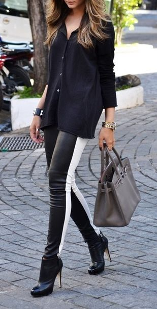Perfect: Fashion Style, Black And White, Street Style, Pants, Outfit, Black White, Fashion Inspiration