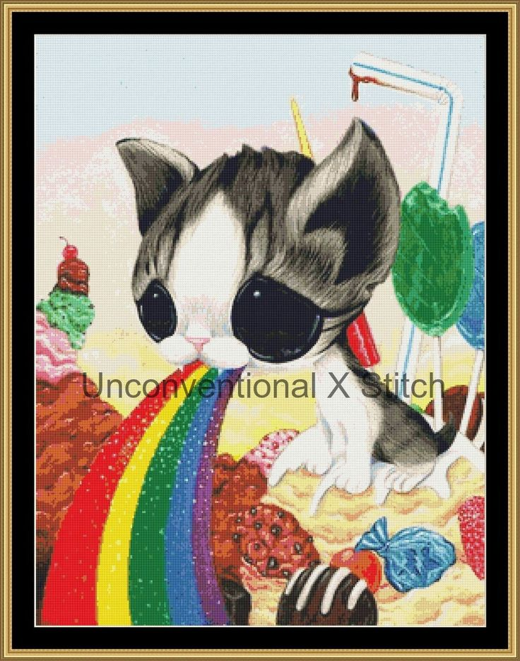 Kitty Rainbow cross stitch pattern - Licensed Sugar Fueled by UnconventionalX on Etsy