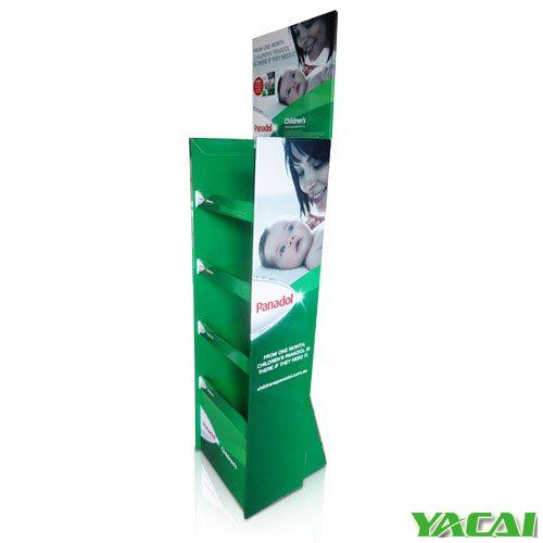 Full printed Floor Display with 4 shelves and with support on back 100% recyclable green environmental protection light weight small volume convenient transportation folding assembly Material: Corrugated paper K3 K5+ 350g coated paper Size and structure: custom Printing: flexo or CMYK http://www.popyacai.com/Cardboard_Display/Cardboard_Countertop_Displays/cardboard_greeting_card_display_stand.html