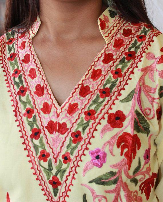 Yellow cotton hand embroidered indian kurta kurti