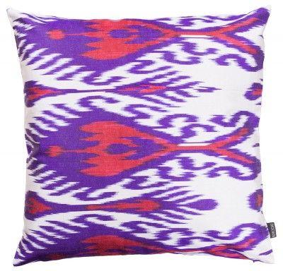 Ikat Kissen aus Seide - lila/rot KHODAI - Handmade Carpets