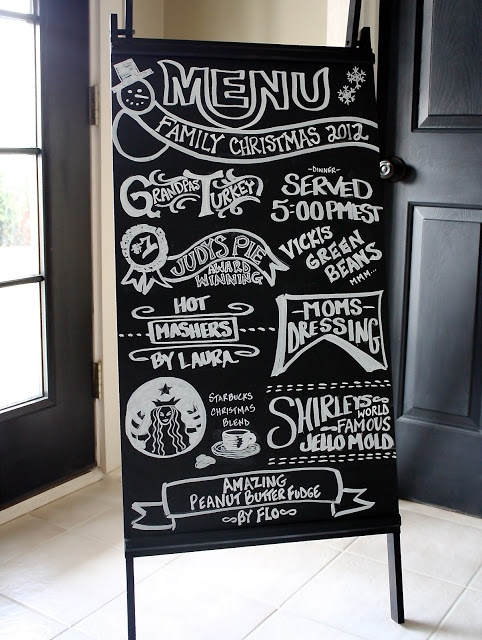 Starbucks inspired chalk board menu, could also have events written down