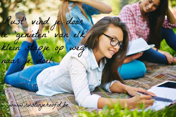 'Rust' vind je door te 'genieten' van elk klein stapje op weg naar je doel. www.rustinjehoofd.be