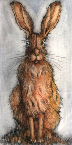 Hare on the hill by Ian MacCulloch Drypoint and oils