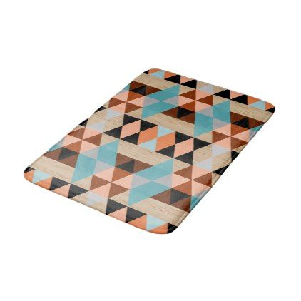 Rustic Diamond Squares Triangles Wood Art Pattern Bath Mat - rustic gifts ideas customize personalize