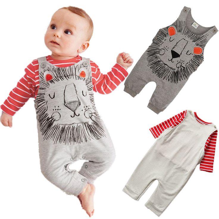 Animal Romper Set Autumn Cotton Overalls Girls Striped T-shirt+Lion Printed Jumpsuits Newborn Baby Boy Clothes Animal Romper Set