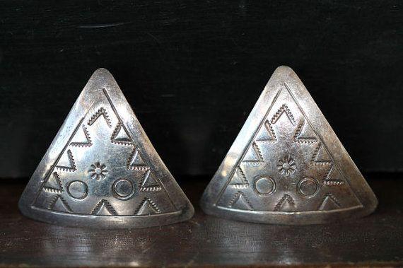 Vintage Mexican Taxco 925 Sterling Silver Triangular Pierced Post Southwestern Earrings