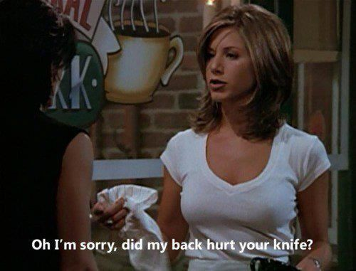"""Oh I'm sorry, did my back hurt your knife?"" Rachel to Monica; Friends TV show quotes"