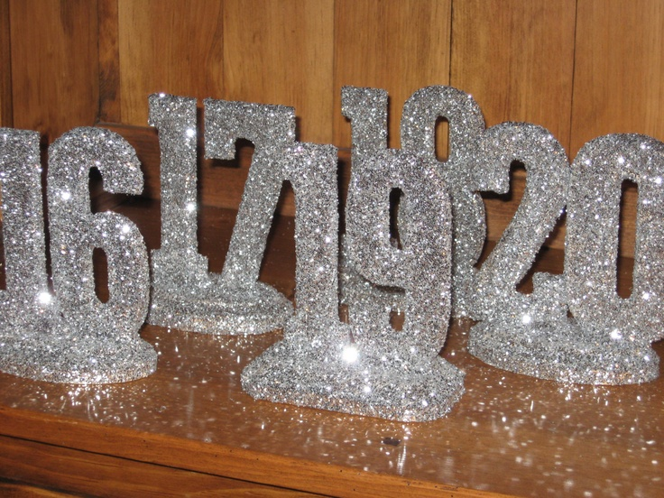 GLITTERED TABLE NUMBERS, Wedding Decor, Sweet 16, Quinceanera Bridal Shower. $185.00, via Etsy.