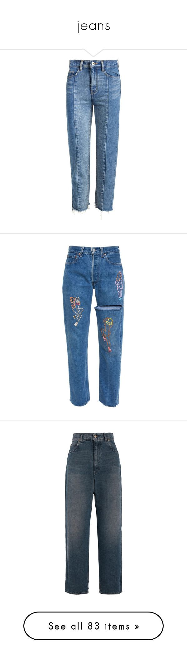 """""""jeans"""" by parkaiagogona ❤ liked on Polyvore featuring jeans, pants, bottoms, denim jeans, straight-leg jeans, cropped jeans, straight leg jeans, raw edge jeans, raw edge hem jeans and trousers"""