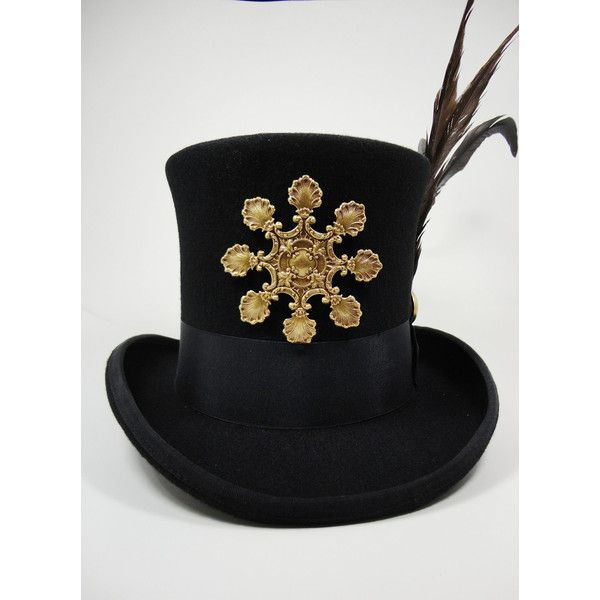 Steampunk Hat- Black Top Hat in Wool Felt Size Large or X-Large with... ($125) ❤ liked on Polyvore