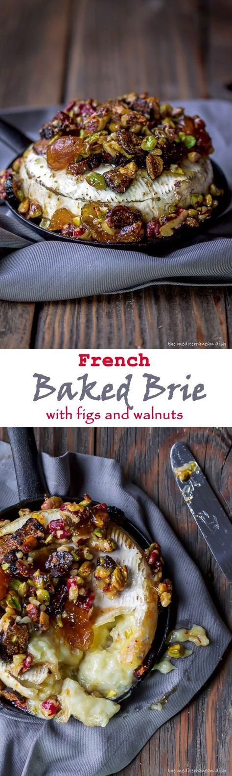 French Baked Brie Recipe with Figs, Walnuts and Pistachios from The Mediterranean Dish.