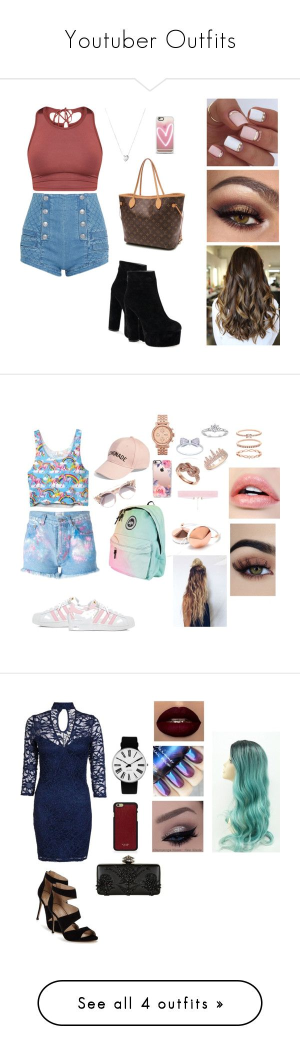 """""""Youtuber Outfits"""" by brauerisabelle on Polyvore featuring Pierre Balmain, Louis Vuitton, Links of London, Casetify, Forte Couture, adidas, Jimmy Choo, Amici Accessories, FOSSIL and Effy Jewelry"""