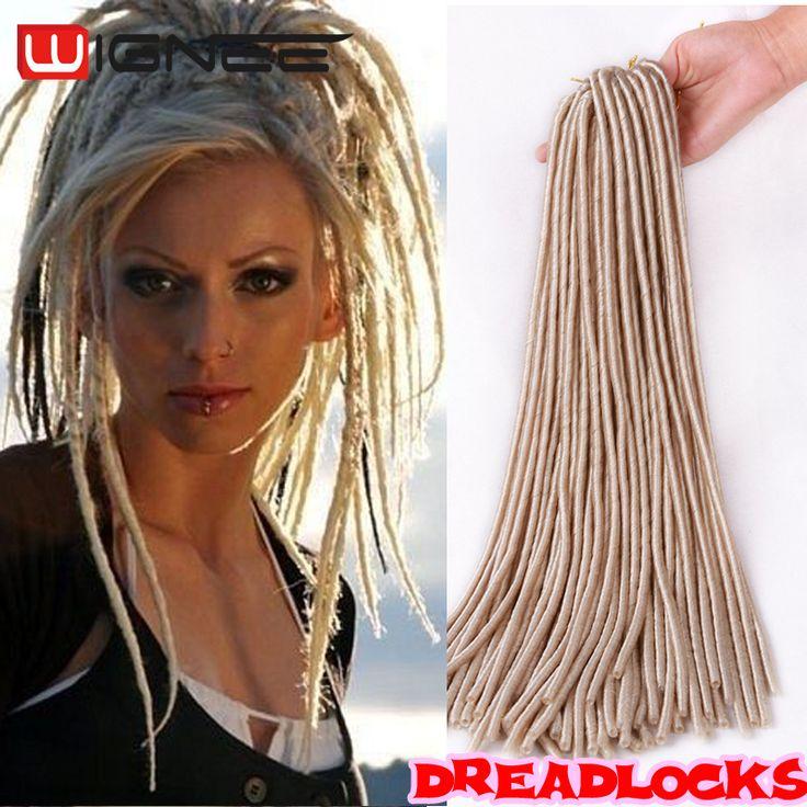 """Wignee Cheveux 20 """"Crainte doux de Cheveux De verrouillage Crochet Tresses Dreadlock Extensions Synthétiques 613 Blonde Cheveux Pas Cher Afro Crépus Faux Locs"""