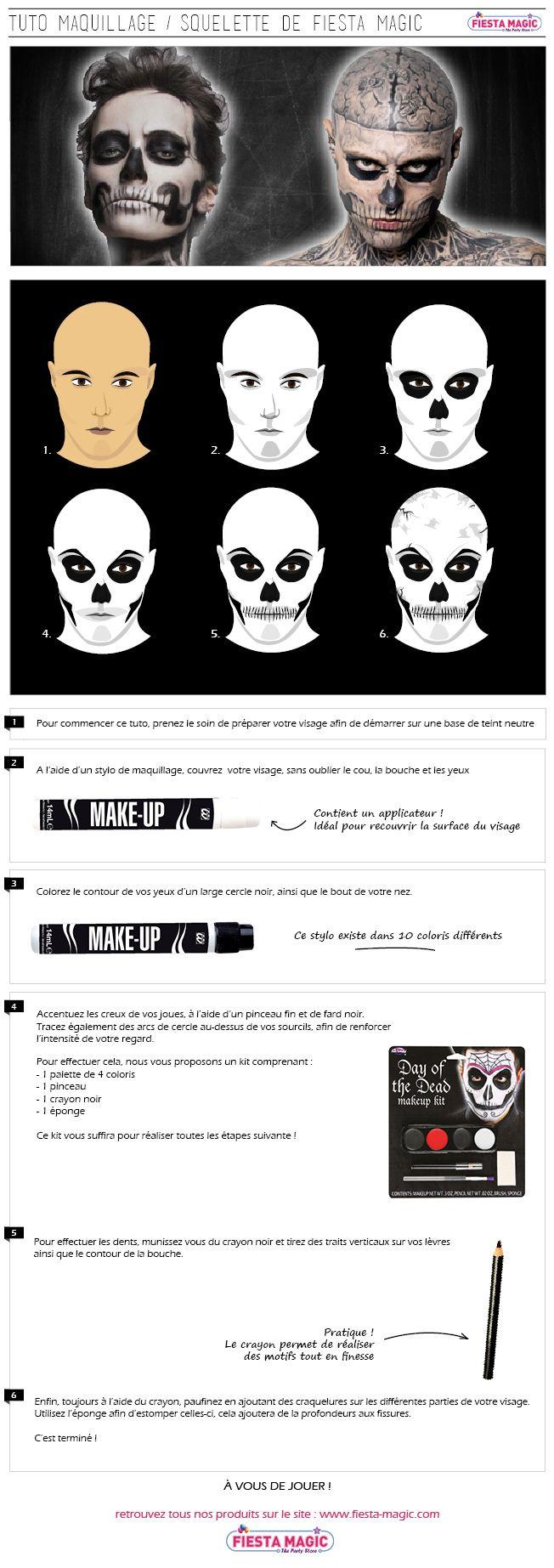 Super tuto réalisé par fiesta magic expliquant comment vous pouvez vous maquiller en squelette comme rob zombie.
