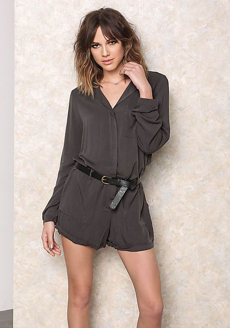 Charcoal Collared Button Down Romper