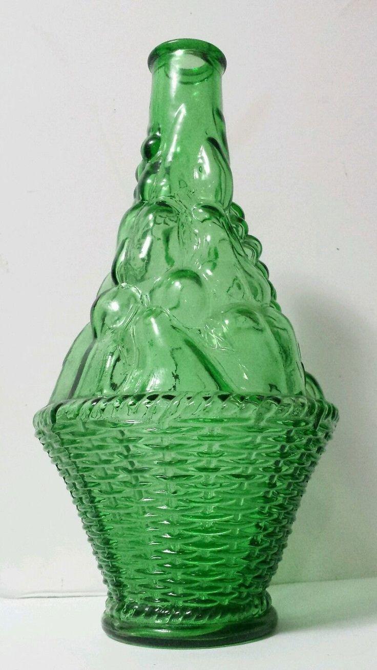 Vintage verde green art glass wine decanter vase bottle for Green italy