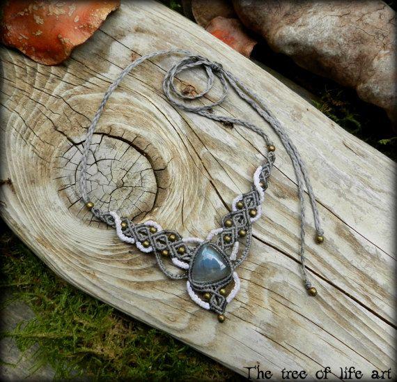 Labradorite macrame necklace with bronze metal beads/Tribal macrame/Micromacrame/Festival jewelry/Earthy/Ooak/Boho necklace/Thetreeofifeart