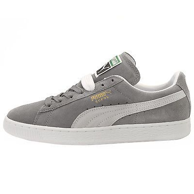 Puma Suede Classic+ Mens 352634-66 Steeple Grey White Athletic Shoes Size 10