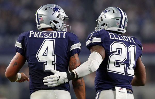 Ezekiel Elliott Photos Photos - Dak Prescott #4 of the Dallas Cowboys celebrates with Ezekiel Elliott #21 after scoring a touchdown during the fourth quarter against the Washington Redskins at AT&T Stadium on November 24, 2016 in Arlington, Texas. - Washington Redskins v Dallas Cowboys