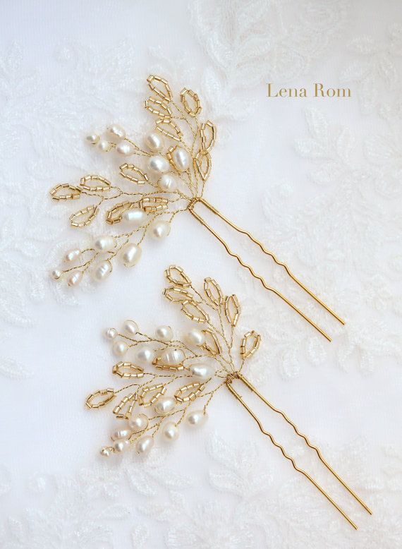 Bridal hair pins/ Pearl bridal hair pins / Golden hair pins / Bridal hair accessories / Wedding hair pins/ Horquillas de novia MOD567