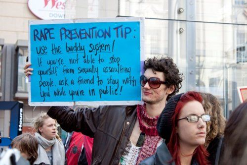 This guy was awesome, he even wore a mini-skirt. Rape prevention tip: use the buddy system! If you're not able to stop yourself from sexually assaulting people, ask a friend to stay with you while you're in public!