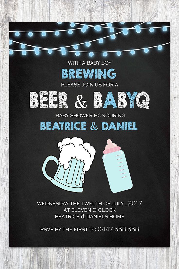 Baby Shower Invitation Boy Chalkboard Blue String lights Beer BabyQ BBQ Co-ed Facebook Event Cover Image