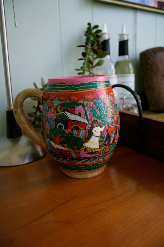 Vintage Hand Painted Mexican Pottery Mug by nickyandsarahspicks